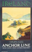 Irish Art Travel Poster, gealic writing, killarney, Ireland by Anchor Line